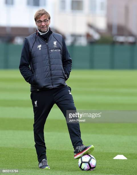 Jugen Klopp manager of Liverpool during a training session at Melwood Training Ground on April 6 2017 in Liverpool England