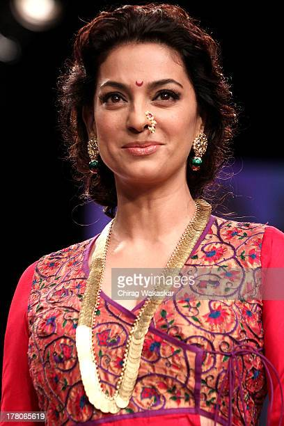 Juhi Chawla showcases designs by Shruti Sancheti during day 4 of Lakme Fashion Week Winter/Festive 2013 at the Hotel Grand Hyatt on August 26 2013 in...
