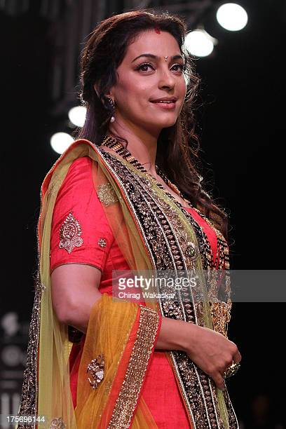 Juhi Chawla walks the runway at the Shringar show on day 3 of India International Jewellery Week 2013 at the Hotel Grand Hyatt on August 6 2013 in...