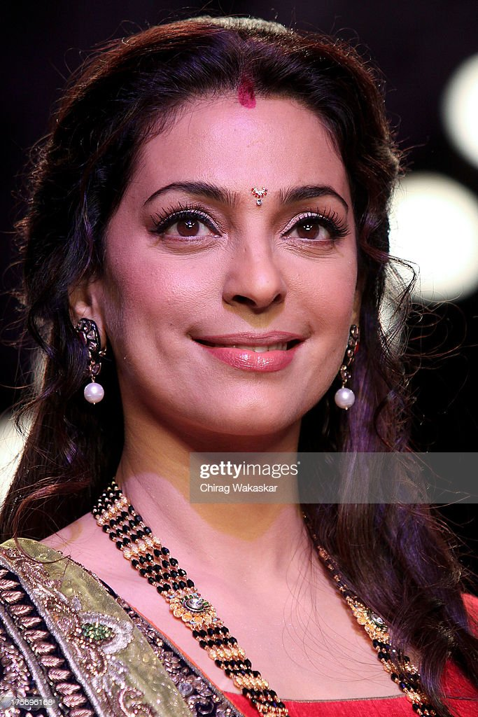 <a gi-track='captionPersonalityLinkClicked' href=/galleries/search?phrase=Juhi+Chawla&family=editorial&specificpeople=2849898 ng-click='$event.stopPropagation()'>Juhi Chawla</a> walks the runway at the Shringar show on day 3 of India International Jewellery Week 2013 at the Hotel Grand Hyatt on August 6, 2013 in Mumbai, India.