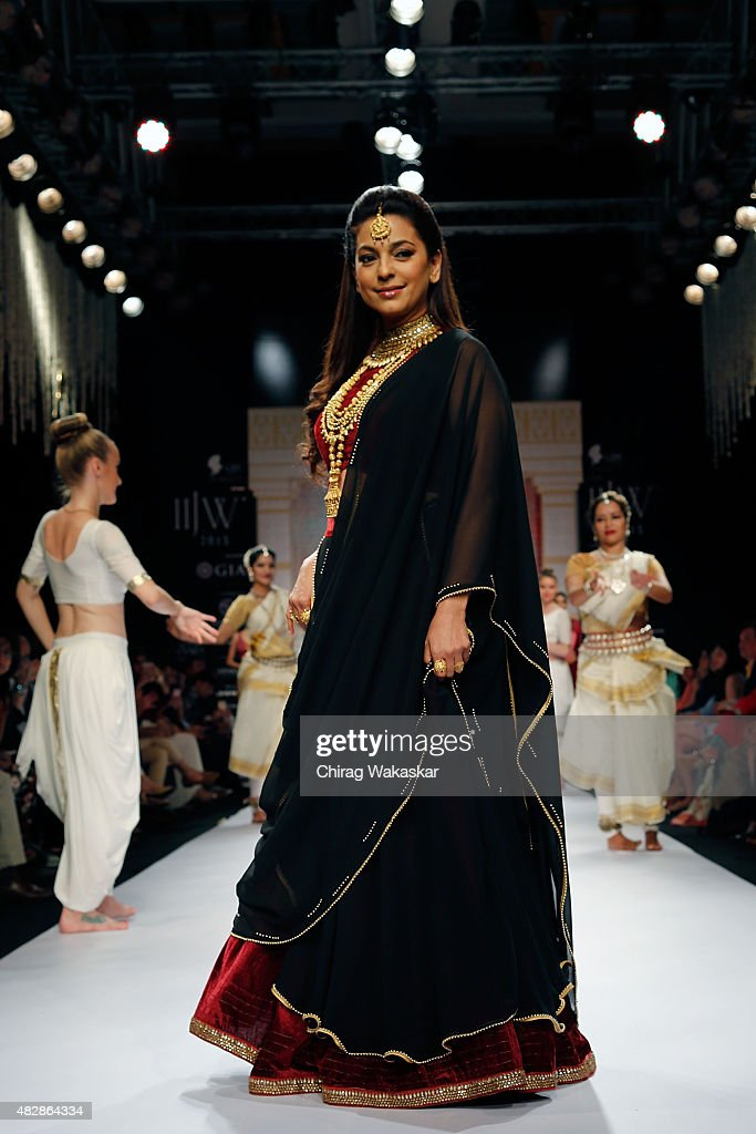 <a gi-track='captionPersonalityLinkClicked' href=/galleries/search?phrase=Juhi+Chawla&family=editorial&specificpeople=2849898 ng-click='$event.stopPropagation()'>Juhi Chawla</a> walks the runway at the Tanishq show during Day 1 of the India International Jewellery Week at the Grand Hyatt on August 3, 2015 in Mumbai, India.