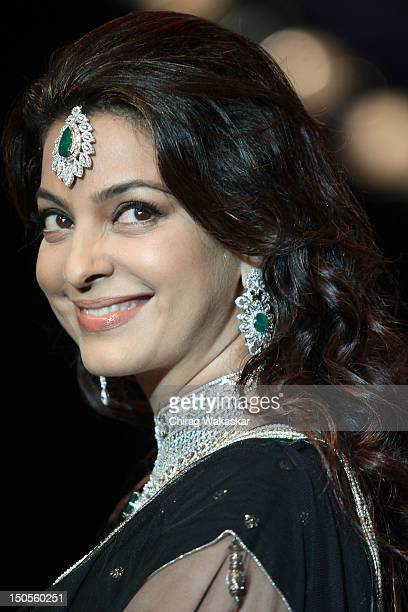 Juhi Chawla walks the runway in a Kaya Jewellery design at the India International Jewellery Week 2012 Day 3 at the Grand Hyatt on on August 21 2012...