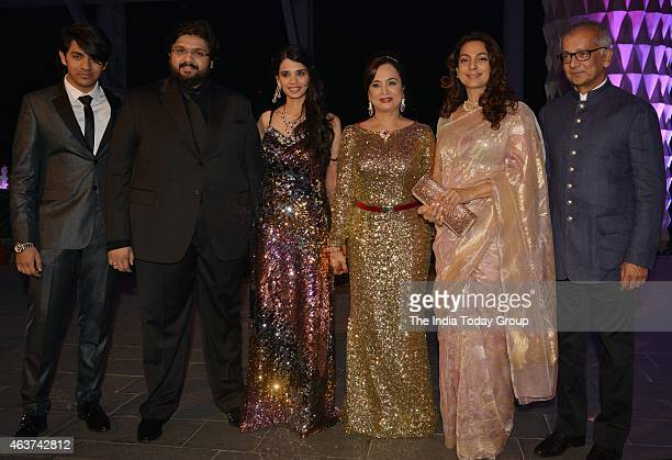 Juhi Chawla with Rahul Thackeray and DrAditi at their wedding reception in Mumbai