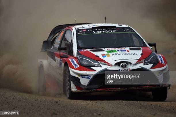 Juho Hanninen and his codriver Kaj Lindstrom of Finland compete in their Toyota Yaris WRC during the third day of the 2017 FIA World Rally...