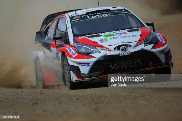 Juho Hanninen and Kaj Lidstrom of Toyota Gazoo Racing WRT team drive during the FIA World Rally Championship Mexico Day Two on March 11 2017 in...