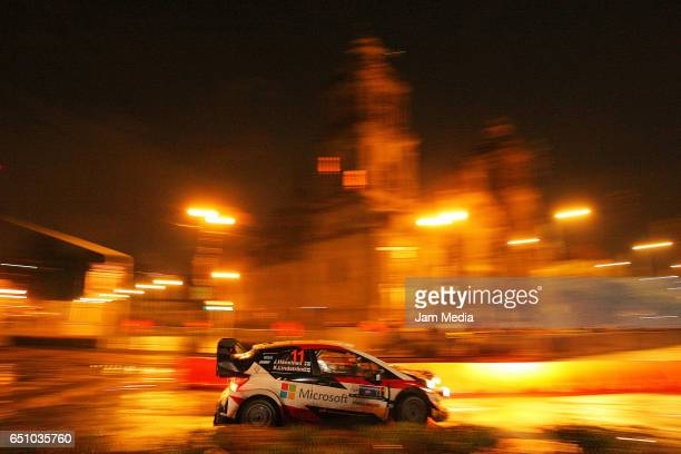 Juho Hanninen and Kaj Lidstrom of Toyota Gazoo Racing WRT team compete during the Start And Super Special Stage of the WRC Mexico on March 09 2017 in...