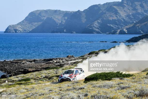 Juho Hanninen of Finland and codriver Kaj Lindstrom of Finland drive their Toyota Yaris WRC during the race at Argentiera near Alghero on the fourth...