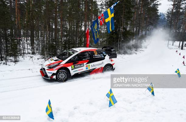 Juho Hanninen of Finland and his codriver Kaj Lindstrom compete in their Toyota Yaris WRC during the 4th stage of the Rally Sweden second round of...
