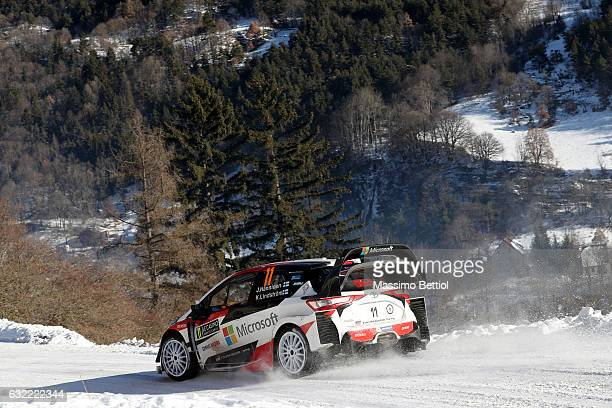 Juho Hanninen of Finland and Kaj Lindstrom of Finland compete in their Toyota Gazoo Racing WRT Toyota Yaris WRC during Day Two of the WRC Montecarlo...