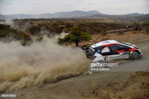 Juho Hanninen of Finland and Kaj Lindstrom of Finland compete in their Toyota Gazoo Racing WRT Toyota Yaris WRC during Day Two of the WRC Mexico on...