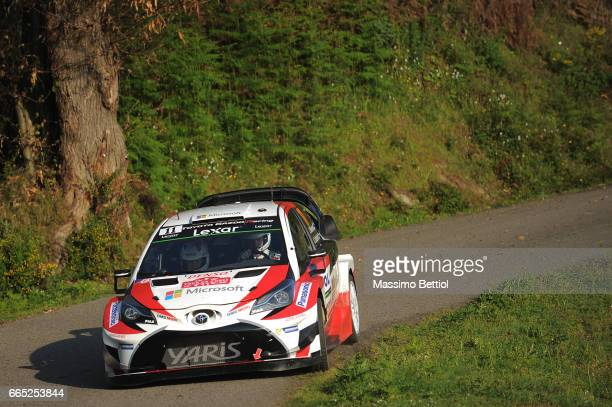 Juho Hanninen of Finland and Kaj Lindstrom of Finland compete in their Toyota Gazoo Racing WRT Toyota Yaris WRC during the Shakedown of the WRC...
