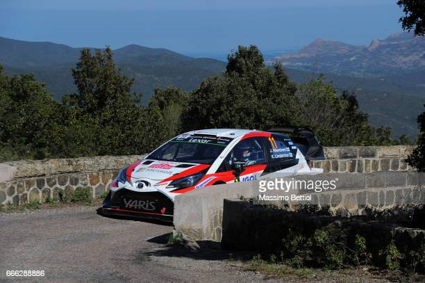 Juho Hanninen of Finland and Kaj Lindstrom of Finland compete in their Toyota Gazoo Racing WRT Toyota Yaris WRC during Day Two of the WRC France on...
