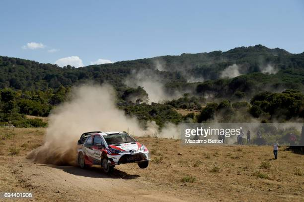 Juho Hanninen of Finland and Kaj Lindstrom of Finland compete in their Toyota Gazoo Racing WRT Toyota Yaris WRC during Day One of the WRC Italy on...