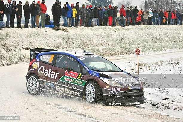 Juho Hanninen of Finland and Tomi Tuominen of Finland compete in their Qatar WRT Ford Fiesta RS WRC during the Shakedown of the WRC MonteCarlo on...