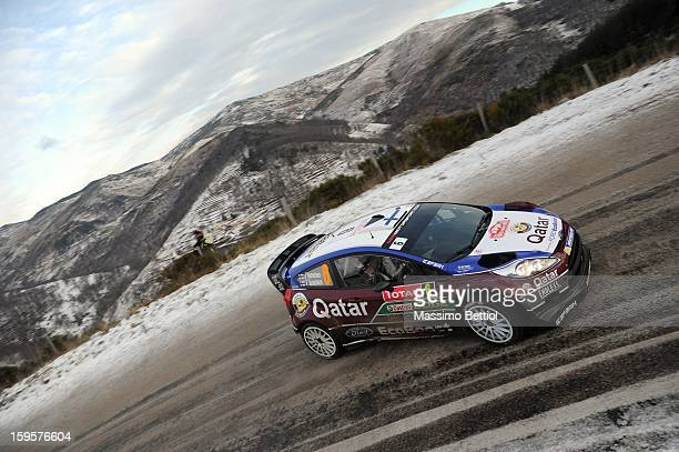 Juho Hanninen of Finland and Tomi Tuominen of Finland compete in their Qatar WRT Ford Fiesta RS WRC during Day One of the WRC MonteCarlo on January...