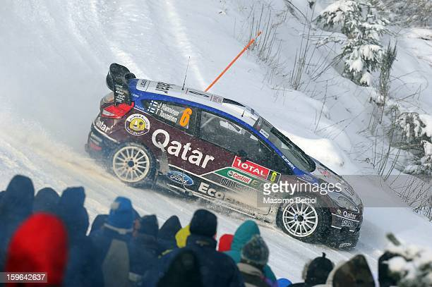 Juho Hanninen of Finland and Tomi Tuominen of Finland compete in their Qatar WRT Ford Fiesta RS WRC during Day Two of the WRC MonteCarlo on January...