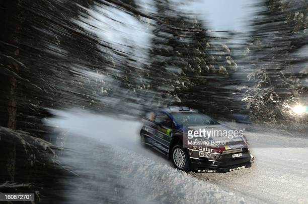 Juho Hanninen of Finland and Tomi Tuominen of Finland compete in their Qatar WRT Ford Fiesta RS WRC during the Shakedown of the WRC Sweden on...