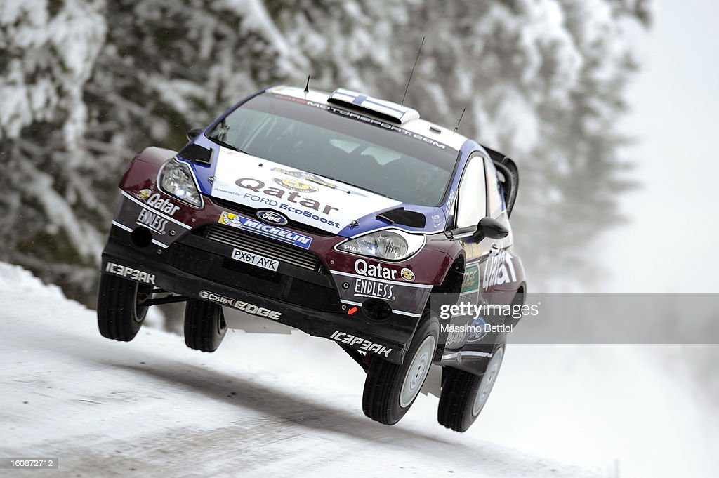 Juho Hanninen of Finland and Tomi Tuominen of Finland compete in their Qatar WRT Ford Fiesta RS WRC during the Shakedown of the WRC Sweden on February 07, 2013 in Karlstad, Sweden.