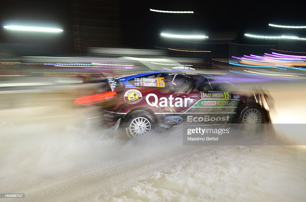Juho Hanninen of Finland and Tomi Tuominen of Finland compete in their Qatar WRT Ford Fiesta RS WRC during Day One of the WRC Sweden on February 08 , 2013 in Karlstad , Sweden.