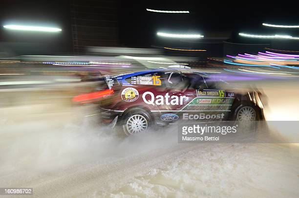 KARLSTAD SWEDEN FEBRUARY Juho Hanninen of Finland and Tomi Tuominen of Finland compete in their Qatar WRT Ford Fiesta RS WRC during Day One of the...