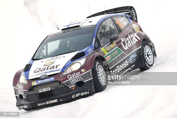 Juho Hanninen of Finland and Tomi Tuominen of Finland compete in their Qatar WRT Ford Fiesta RS WRC during Day Two of the WRC Sweden on February 09...