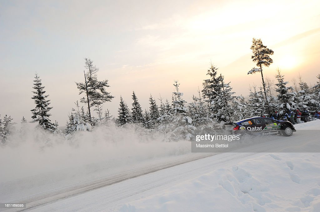 Juho Hanninen of Finland and Tomi Tuominen of Finland compete in their Qatar WRT Ford Fiesta RS WRC during Day Two of the WRC Sweden on February 09 , 2013 in Karlstad , Sweden.