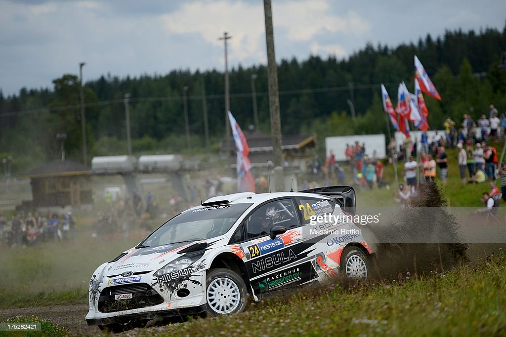 Juho Hanninen of Finland and Tomi Tuominen of Finland compete in their Ford Fiesta RS WRC during Day One of the WRC Finland on August 1, 2013 in Jyvaskyla, Finland.