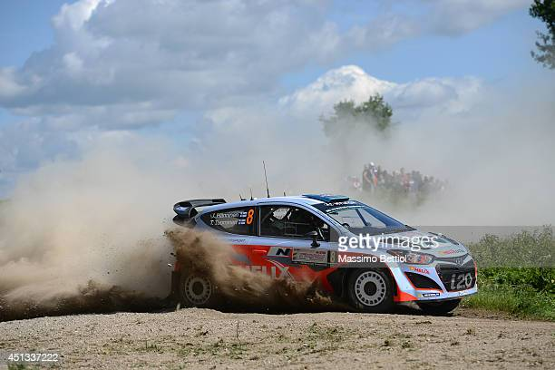 Juho Hanninen of Finland and Tomi Tuominen of Finland compete in their Hyundai Motorsport Hyundai i20 WRC during Day One of the WRC Poland on June 27...