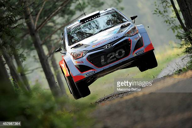 Juho Hanninen of Finland and Tomi Tuominen of Finland compete in their Hyundai Motorsport Hyundai i20 WRC during the Shakedown of the WRC Finland on...