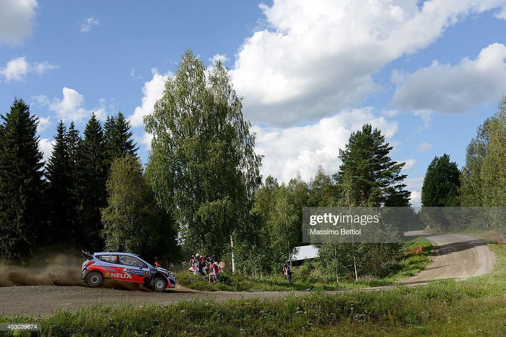 Juho Hanninen of Finland and Tomi Tuominen of Finland compete in their Hyundai Motorsport WRT Hyundai I20 WRC during Day One of the WRC Finland on August 1, 2014 in Jyvaskyla, Finland.