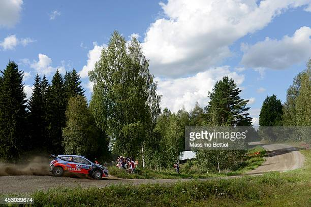 Juho Hanninen of Finland and Tomi Tuominen of Finland compete in their Hyundai Motorsport WRT Hyundai I20 WRC during Day One of the WRC Finland on...