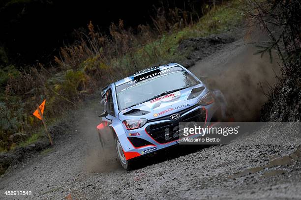 Juho Hanninen of Finland and Tomi Tuominen of Finland compete in their Hyundai Motorsport Hyundai i20 WRC during the Shakedown of the WRC Great...