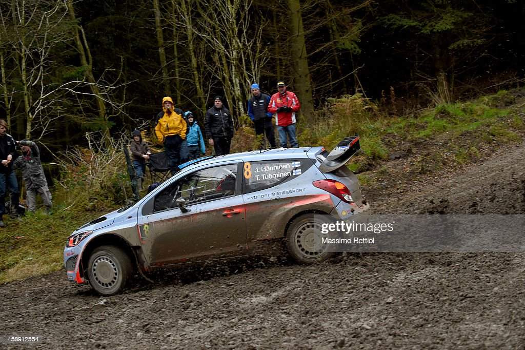 Juho Hanninen of Finland and Tomi Tuominen of Finland compete in their Hyundai Motorsport Hyundai i20 WRC during the Shakedown of the WRC Great Britain on November 13, 2014 in Deeside, United Kingdom.