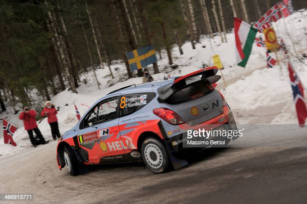 Juho Hanninen of Finland and Tomi Tuominen of Finland compete in their Hyundai Motorsport Hyundai i20 WRC during the Shakedown of the WRC Sweden on...