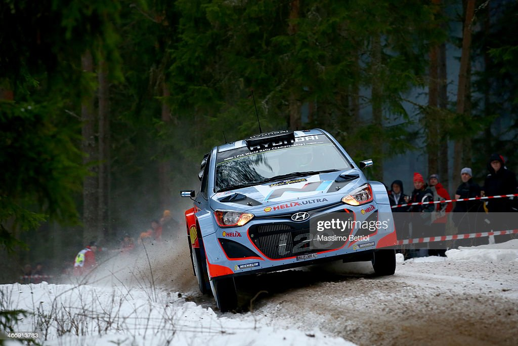 Juho Hanninen of Finland and Tomi Tuominen of Finland compete in their Hyundai Motorsport Hyundai i20 WRC during the Shakedown of the WRC Sweden on February 5, 2014 in Karlstad, Sweden.