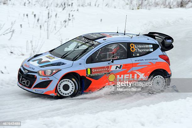 KARLSTAD SWEDEN FEBRUARY Juho Hanninen of Finland and Tomi Tuominen of Finland compete in their Hyundai Motorsport Hyundai i20 WRC during Day Two of...