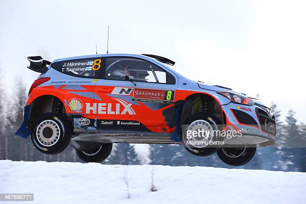 Juho Hanninen of Finland and Tomi Tuominen of Finland compete in their Hyundai Motorsport Hyundai i20 WRC during Day Three of the WRC Sweden on...