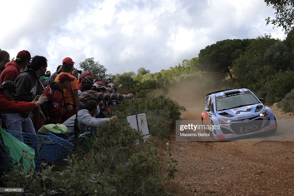 Juho Hanninen of Finland and Tomi Tuominen of Finland compete in their Hyundai Motorsport Hyundai ì20 WRC during the Shakedown of the WRC Portugal on April 2, 2014 in Faro, Portugal.