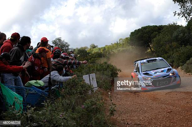 Juho Hanninen of Finland and Tomi Tuominen of Finland compete in their Hyundai Motorsport Hyundai ì20 WRC during the Shakedown of the WRC Portugal on...