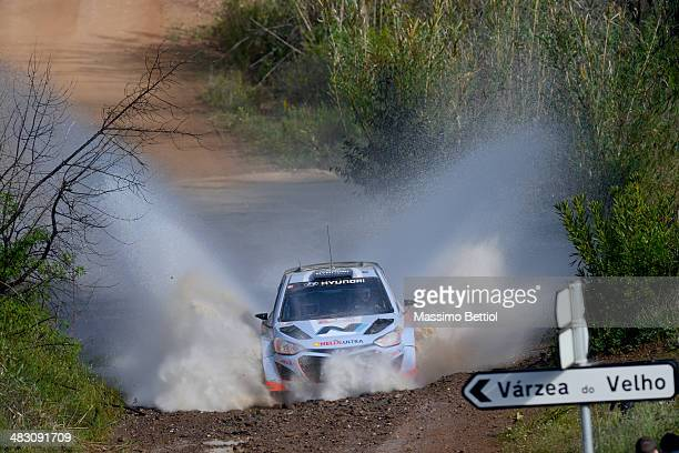 Juho Hanninen of Finland and Tomi Tuominen of Finland compete in their Hyundai Motorsport Hyundai ì20 WRC during Day Three of the WRC Portugal on...