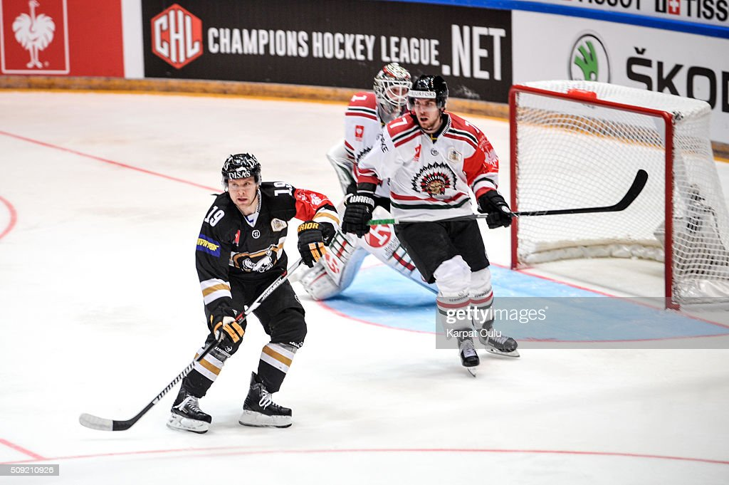 Juho Keranen #19 of Karpat Oulu and Henrik Tommernes #7 of Frolunda Gothenburg during the Champions Hockey League final between Karpat Oulu and Frolunda Gothenburg at Oulun Energia-Areena on February 9, 2016 in Oulu, Finland.