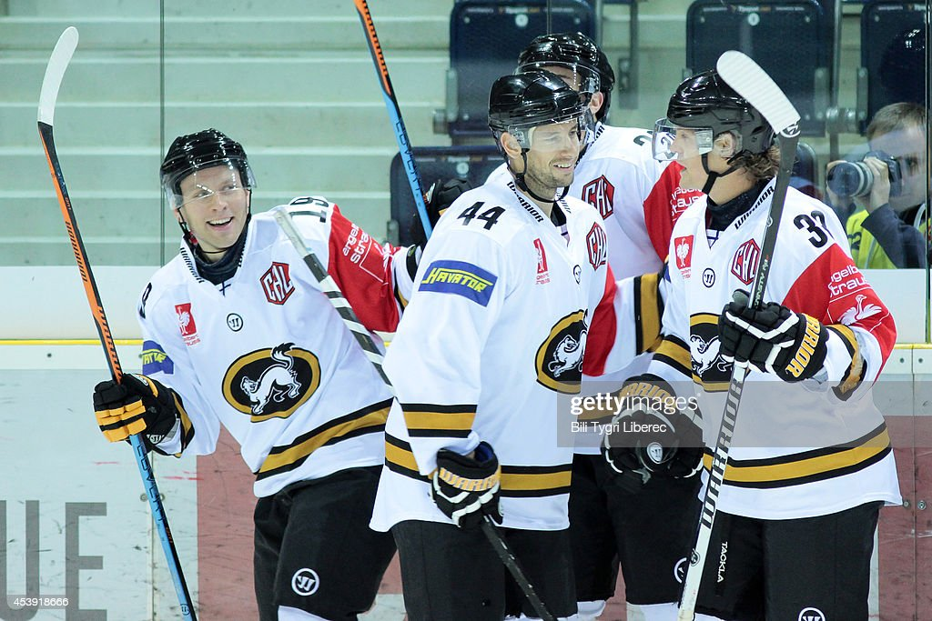 Juho Keranen #19, Ryan Genn #44 and Adam Masuhr of Karpat oulu celrebrate goal during the Champions Hockey League group stage game between Bili Tygri Liberec and Karpat Oulu on August 21, 2014 in Liberec, Czech Republic.