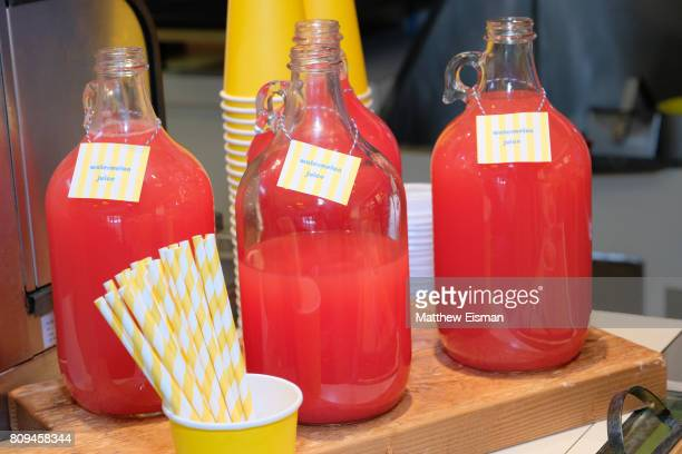 Juice drinks on display during a screening of Despicable Me 3 hosted by Gwyneth Paltrow and goop at Southampton Movie Theatre on July 5 2017 in...