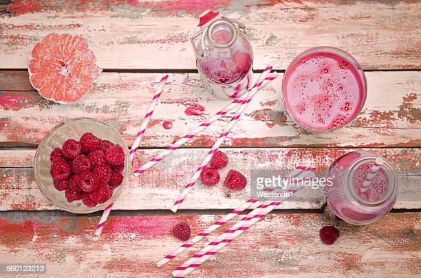 Juice made of beetroot, raspberries and grapefruit