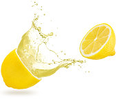 yellow liquid spilling out of half lemon isolated on white