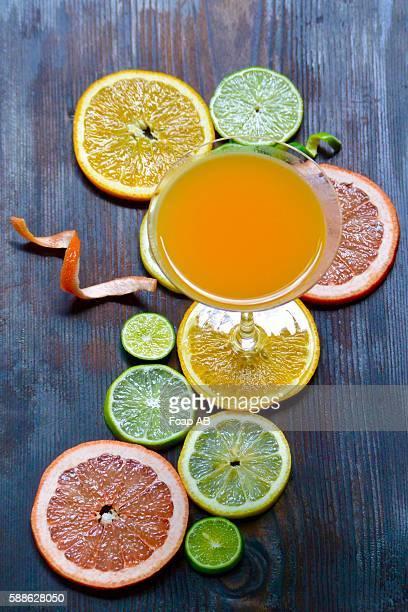 Juice with citrus fruit's slice