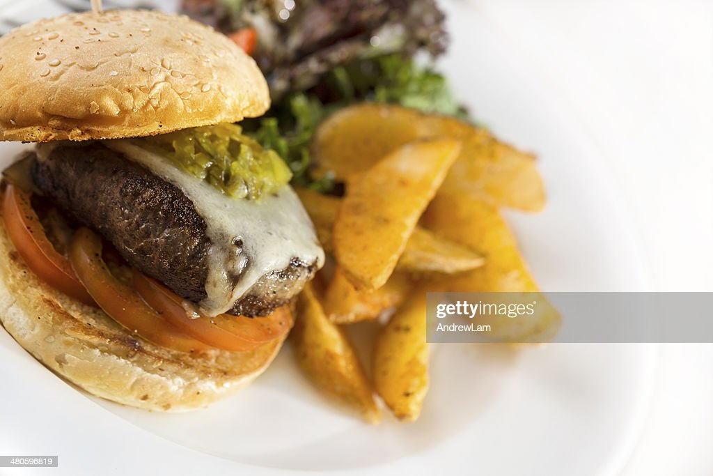 juicy chicken burger : Stock Photo