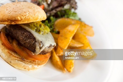 juicy chicken burger : Stock Photo