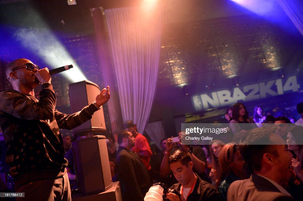 <a gi-track='captionPersonalityLinkClicked' href=/galleries/search?phrase=Juicy+J&family=editorial&specificpeople=698028 ng-click='$event.stopPropagation()'>Juicy J</a> performs onstage during the NBA 2K14 premiere party at Greystone Manor on September 24, 2013 in West Hollywood, California.
