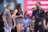 Juicy J visits with hosts Bow Wow and Paigion at BET's '106 Park' at BET Studios on March 7 2013 in New York City